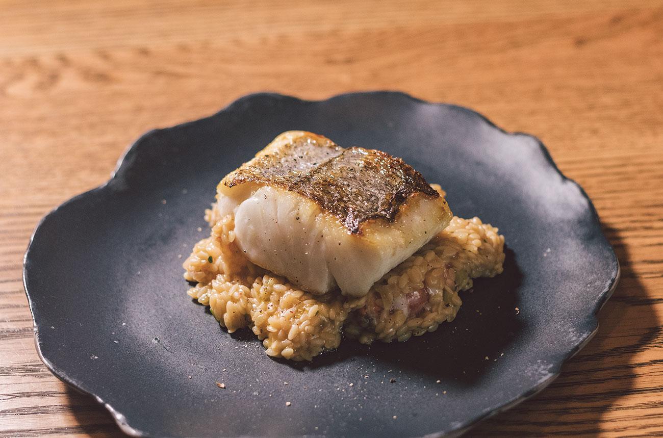 Merluza Austral Chile - Recetas del chef - Merluza en un falso risotto de gambón
